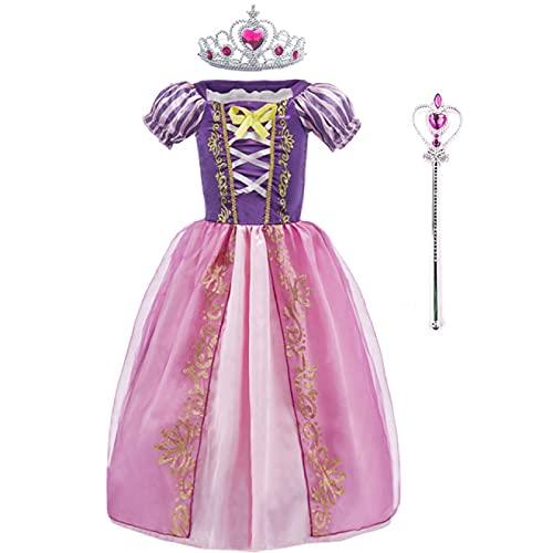 DZHTWSRYGR Disfraces de Navidad para nios, nias, bebs, Vestido de Princesa Rapunzel, Disfraz de Verano de Princesa para nios, Disfraz de Princesa Rapunzel