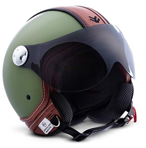 "ARMOR HELMETS® AV-84 ""Vintage Deluxe Green"" · Jet-Helm · Motorrad-Helm Roller-Helm Scooter-Helm Moped Mofa-Helm Chopper Retro Vespa Vintage · ECE 22.05 Visier Schnellverschluss Tasche XS (53-54cm)"