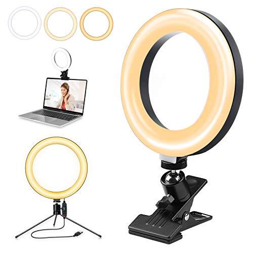 "luz videoconferencia, Luz de Video Led, Orthland 6"" LED Anillo de Luz Trípodecon, Luz para Monitor con Clip, 3 Modos 10 Brillos Regulables Anillo de Luz para videoconferencia, Maquillaje, Youtube"