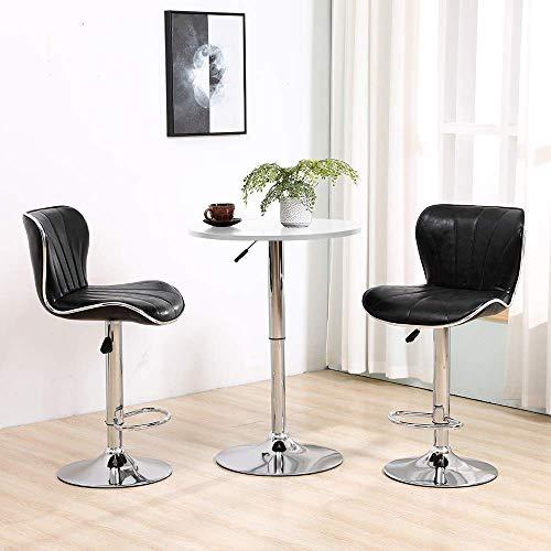 Tägliche Ausstattung Verstellbarer Stehtisch Set Runder Stehtisch mit 2 schwarz glänzenden Barhockern zum Frühstück Kneipentheke Küche PU-Leder Barhocker Stühle mit Fußstütze Chrombasis Gaslift Dre