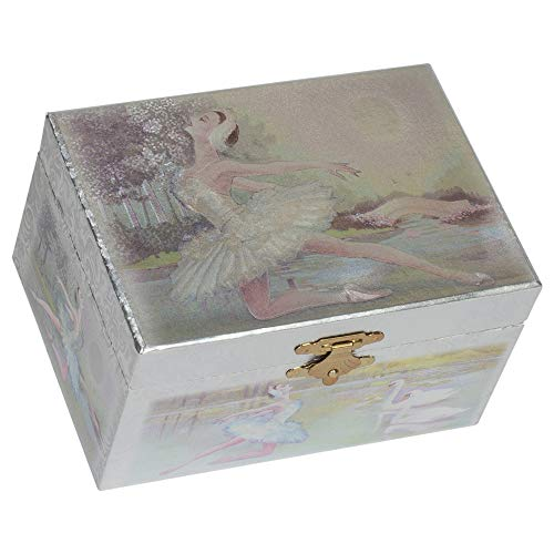 Metallic Silver Swans and Ballerina Leaping Papier Musical Jewelry Box Plays Swan Lake