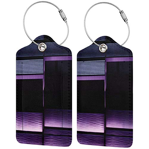 FULIYA Set of 2 Secure Luggage Tags High-end Leather Suitcase Luggage Tags Business Card Holder/Travel ID Bag Tag,Stairs, Backlight, Neon, Purple, Texture
