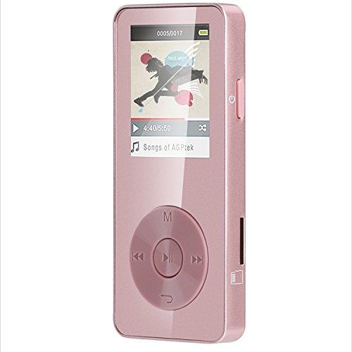 AGPTEK 8Go M28 |Refusez Le Faux!| | Lecteur MP3 Métal, Ecran Couleurs de 1.8'', (slot carte mémoire de 32Go), Rose