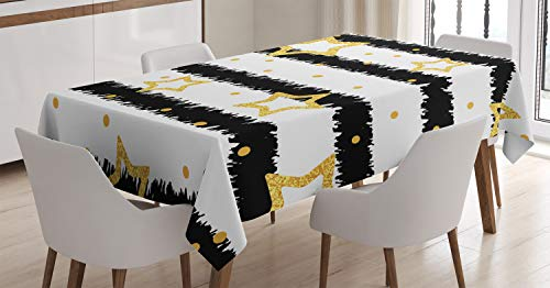 Christmas Decorations Black and Gold Tablecloth