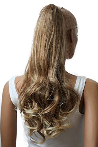 PRETTYSHOP 50cm Haarteil Zopf Pferdeschwanz Haarverlängerung Voluminös Gewellt Dunkelblond Mix H32b