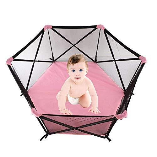 Corralito de cerca para bebé plegable portátil decorativo para el hogar con bolsa de almacenamiento red visible transpirable y marco protector de metal para niños pequeños en interiores y exteriore