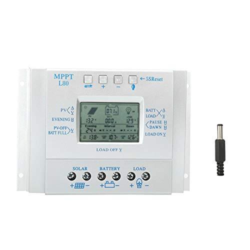 Regulador de carga Regulador de carga Solar 80A Pantalla LCD PWM Controlador de carga Solar fotovoltaico MPPT Regulador 12V/24V