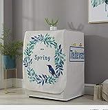 Abdeckung Für Waschmaschinen,Waschmaschinenbezug, Waschmaschine Staubschutz, Wasserdichte Abdeckung Für Waschmaschine Frontlader Trockner (Kranz Aus Blättern(L65*W60*H85Cm))