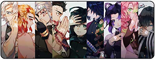 for Demon Slayer Kimetsu No Yaiba Anime Large Extended Gaming Mouse Pad Mat, Stitched Edges, Ultra Thick 3 mm, Wide & Long Mousepad 31.5' x 11.8' x 0.12' (DSMP2)