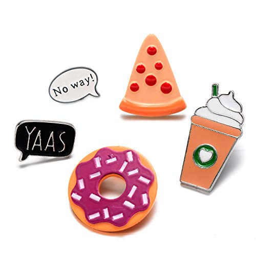 5 Pack Enamel Pin Set Cool No way Speech Coffee Pizza Donuts Ice Cream Pins For Backpacks Jackets