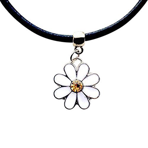 Live It Style It Daisy Flower New Leather Choker Charm Necklace Vintage Hippy Retro Black Cord 90s Jewelry