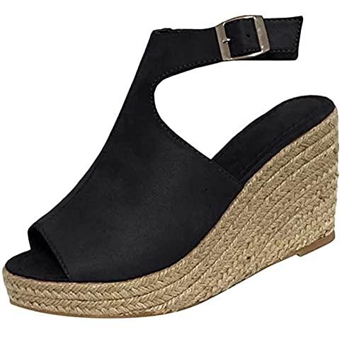 gurjs Elegante sandalen voor dames, met sleehak, open, zwart, bruin, wit, met enkelriem, casual, comfortabel