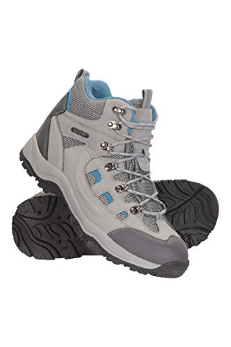 Mountain Warehouse Adventurer wasserfeste Damenstiefel - robuste Wanderschuhe, atmungsaktiv, Synthetik-Obermaterial, Netzfutter, gepolstertes Fußbett - Wandern, Trekking Hellgrau 39 EU