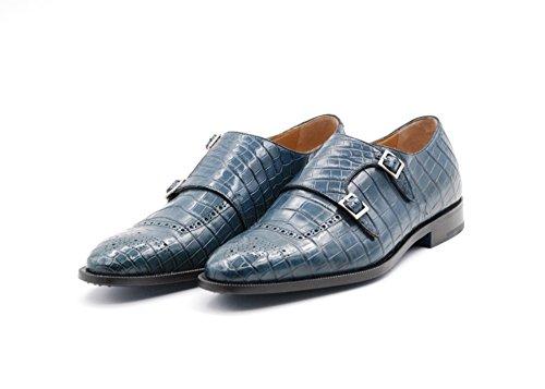 Zapato con Hebilla Sutor Mantellassi de Cuero de cocodrilo (45 EU, Azul)