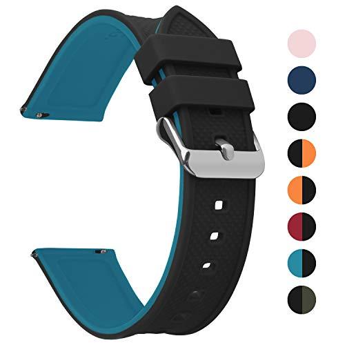 Fullmosa Silikon Uhrenarmband 18mm mit Schnellverschluss in 8 Farben, Regenbogen Weich Silikon Uhrenarmband mit Edelstahlschnalle,18mm Schwarz+Blau