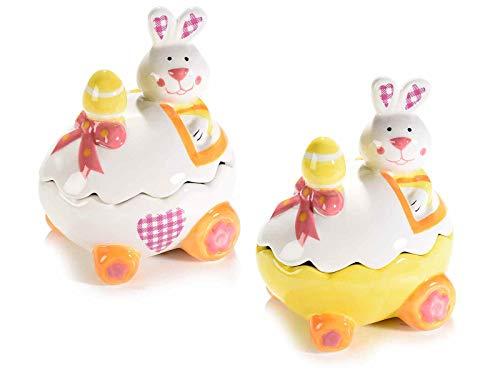 Gruppo Maruccia Set 2 barattoli Pasquali in Ceramica per Alimenti con Coniglietti e Uova Idea Regalo per la Pasqua