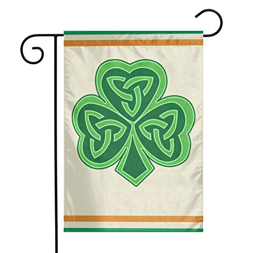 TTIWEP Celtic Knot Shamrock Garden Flag Indoor & Outdoor Decorative Flags for Parade Sports Game Family Party Wall Banner,12x18inch