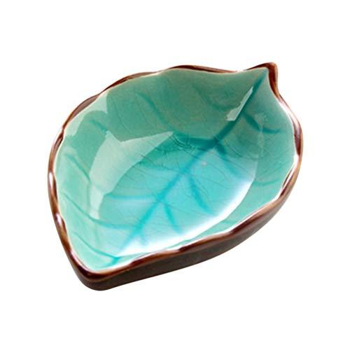 BESTONZON Mini platos de cerámica con platos Forma de hoja porcelana Platillos Platos Salsa de cocina Cuenco