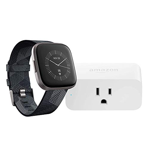 Fitbit Versa 2 Smartwatch (Smoke Woven/Mist Grey) with Amazon Smart Plug Bundle