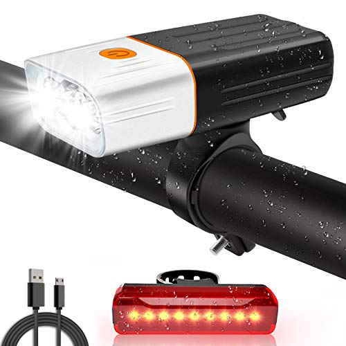 Bike Lights,Bike Lights Set USB Rechargeable , 2400 mAh /450 Lumen Front and Back Bicycle Lights , Cycle Lights Super Bright MTB/Road/Mountain Cycling Lights LED Headlight Taillight Bike Accessories