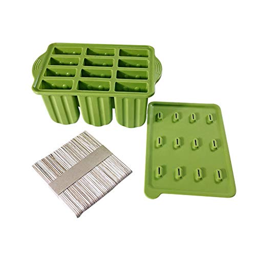 MULIN 12 Cavities Design Silicone Ice Popsicle Mold, for Spring and Summer, Ideal for Making All Kinds of DIY Ice Food, Non-Stic, Reused Ice Popsicle Tray Mold Green