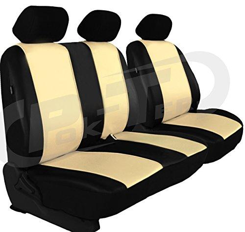 POK-TER-TUNING Maßgefertigter Sitzbezug für VITO W639. Fahrersitz + 2er Beifahrersitzbank Kunstleder. Farbe BEIGE.