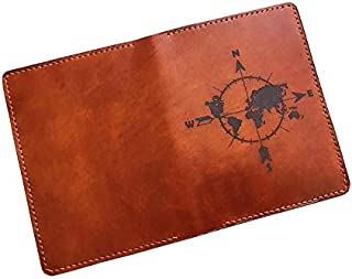Simple compass world map genuine leather handmade passport wallet cover holder travel accessories - 1LE