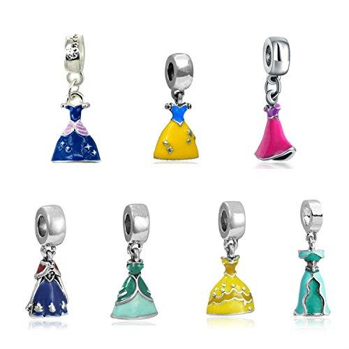 Silver set of 7 Dress Charms Rapunzel, Belle, Cinderella, Anna, Snow White, Ariel And Jasmine, will fit Pandora, Biagi, Chamilia and Troll Bracelets BMP