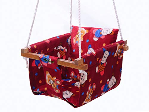 4Matic Cotton Baby Swing Hanging Jula for Kid's (Color Maroon ; Wooden Square Stick Frame)