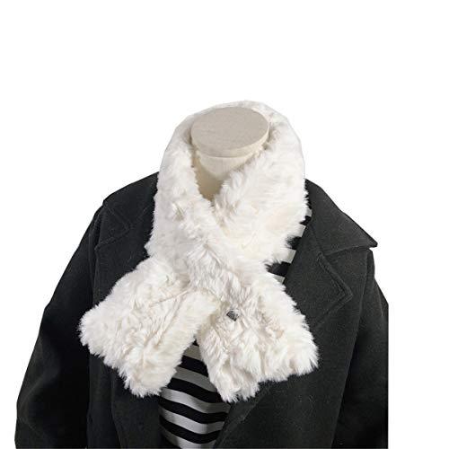 ZnMig Scarf Neck Student Plush Warm Bib Female Winter Cross Collar Scarf Decoration Wild Winter Scarf Collar Scarf Shawl Neck Warmth Keep Warm (Color : White, Size : 87x13cm)
