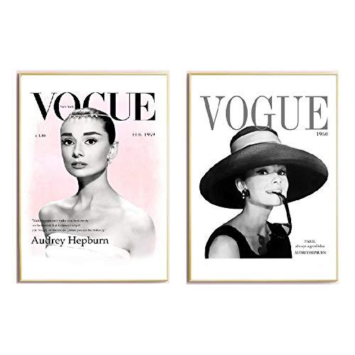 WJWGP Audrey Hepburn Mode Poster Kunstdruck Vintage Wand Bilder Bilder Vogue Leinwand Bild Nordic Style Poster FüR MäDchen Zimmer Wohnkultur 40x60cmx2 Kein Rahmen