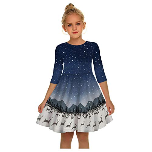 CHMORA Women's Dress, Christmas Polka Dot Round Neck, Fashion Long Sleeve 3D Printing Retro Skirt, Evening Dress Blue