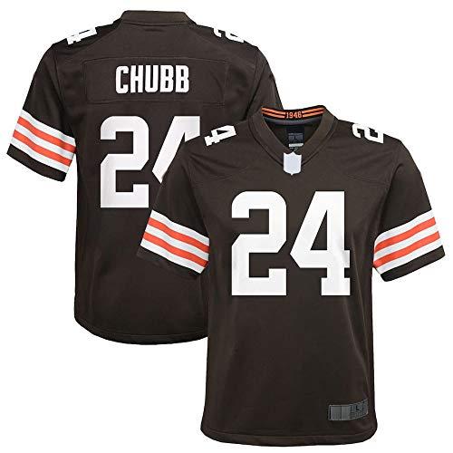 REHF Custom American Football Jersey Camisetas Cleveland Nick # 24 Chubb Browns Juventud Juego Jersey Transpirable Sudadera Para Juventud - Marrón