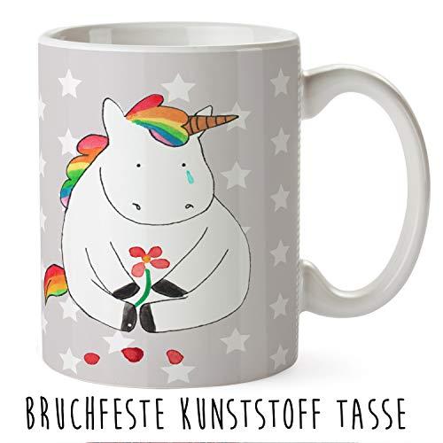 Mr. & Mrs. Panda Trinkbecher, Tasse, Kindertasse Einhorn Traurig - Farbe Grau Pastell