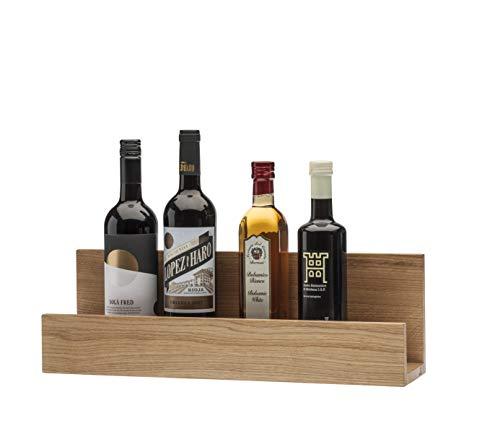 QONTUR - Mensola da cucina in legno di quercia massiccia, 50 cm, utilizzabile come tagliere, portaspezie, per vino, olio e aceto