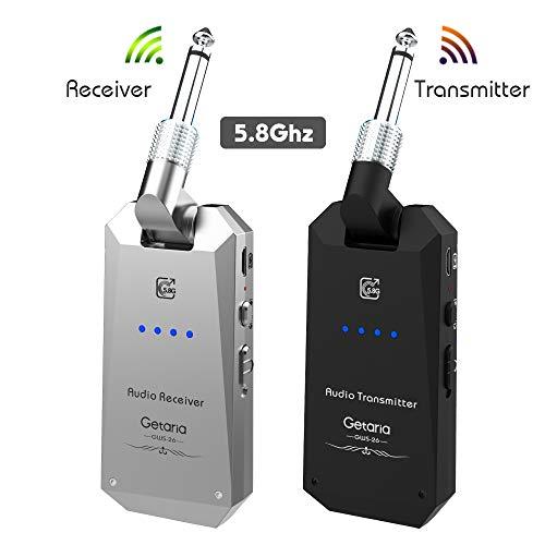 Getaria Wireless Guitar System 5.8GHz Wireless Guitar Transmitter Receiver Set for Electric Guitar Bass