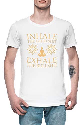 Yoga Inhalar Los Bueno Mierda Hombre Camiseta tee Blanco Men's White T-Shirt