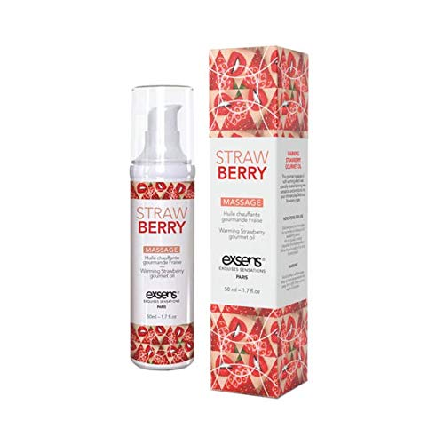 Strawberry Warming Intimate Massage Oil by EXSENS | Vegan, Paraben Free, Body Safe, Condom Friendly, Deliciously Lickable Flavor, Gel Formula | 50 ml - 1.7 fl.oz