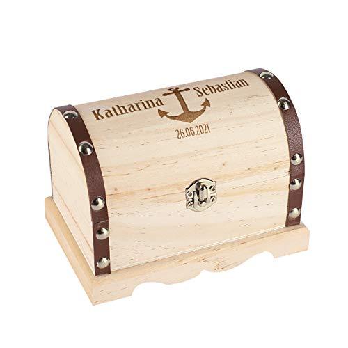 Herz & Heim® Personalisiertes Hochzeitsgeschenk Schatztruhe mit Gravur in verschiedenen Größen Anker, ca. 11 cm x 7,5 cm x 6,5 cm (B/H/T)