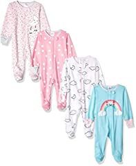Includes four Gerber sleep n' plays Soft cotton jersey Front zipper opening makes dressing and changing easier