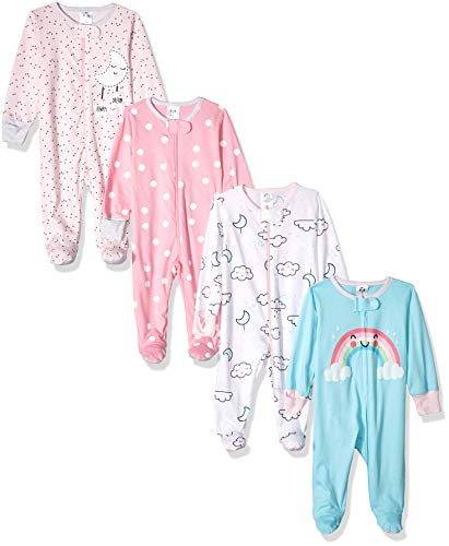 Gerber Baby Girls' 4 Pack Sleep N' Play Footies, Cloudy, 6-9 Months