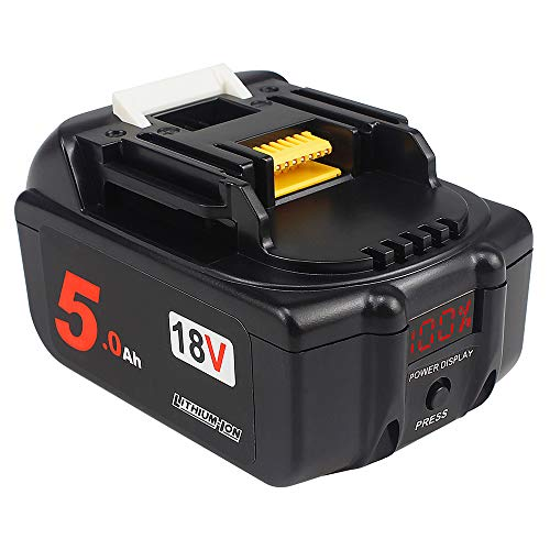 AMICROSS 18V 5.0Ah bl1850-B Lithium-ion Replacement Batteries(with LED Percentage Display) Compatible with Makita 18-Volt Cordless Tools: XMT03Z XAG04Z XTR01Z 5007Mg XSS02Z XPH12Z XDT131 XCV11Z XT269M