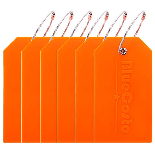BlueCosto 6 Pack Luggage Tags Suitcase Tag Travel Bag Labels w/Privacy Cover - Orange