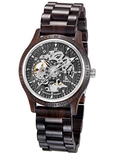 Alienwork Herren mechanische Automatik-Uhr schwarz mit Holz-Armband Skelett Holzuhr