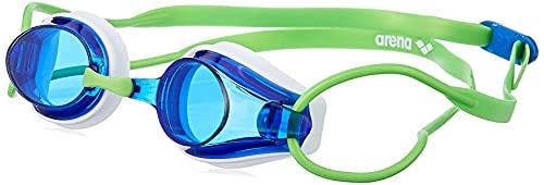Arena Tracks Occhialini Nuoto da Gara Anti-Appannamento Unisex Adulto, Occhialini Piscina con Protezione UV, 4 Ponti Nasali Intercambiabili, Guarnizioni in Silicone, Verde (White-Blue-Green)
