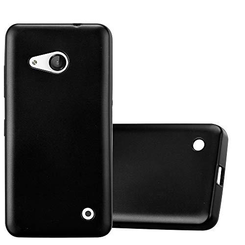 Cadorabo Hülle für Nokia Lumia 550 in METALLIC SCHWARZ - Handyhülle aus flexiblem TPU Silikon - Silikonhülle Schutzhülle Ultra Slim Soft Back Cover Hülle Bumper
