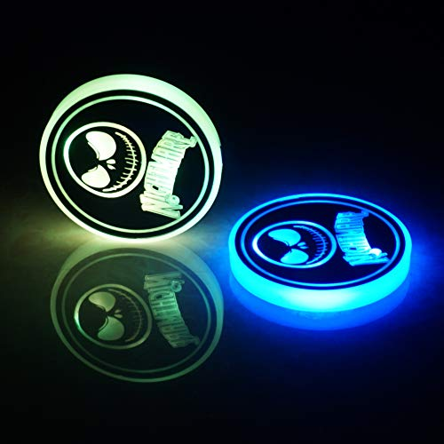 LED Car Cup Holder Lights - 2 Pack The Nightmare Before Christmas Car Coaster with 7 Colors Changing USB Charging Mat - Cup Pad Atmosphere Lamp Decoration Light Automotive Interior
