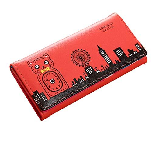 Kaned Monedero largo lindo cómic casa gato reloj casa molino de viento patrón señora plegable cartera. rojo