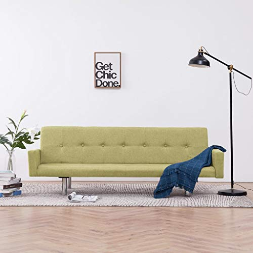 UnfadeMemory Sofa Cama de Salon con Reposabrazos,Decoración de Hogar,Diseño Moderno,Modo de Sofá con 3 Posiciones Ajustables,Estructura de Madera,Tapicería de Poliéster (Verde)