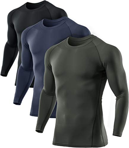 ATHLIO Men's Thermal Long Sleeve Compression Shirts, Winter Gear Sports Base Layer Top, Athletic Running T-Shirt, 3pack(lyd03) - Black/Charcoal/Olive, Large